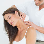 Patient receiving a neck massage